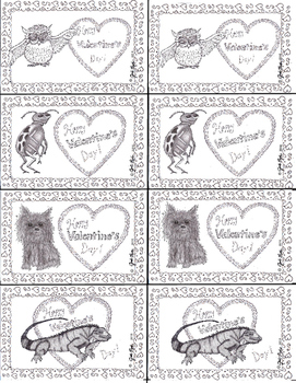 Valentine's Day Coloring Cards  Freebie!