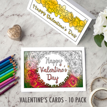 Valentine's Day Coloring Cards – Set of 10 printable greeting cards to color in