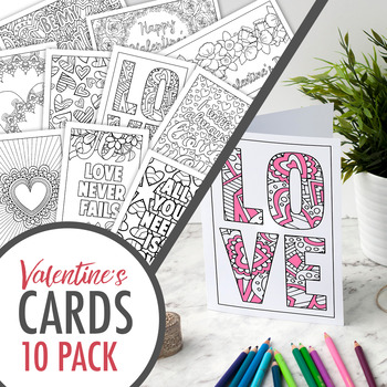 image relating to Printable Coloring Cards titled Valentines Working day Coloring Playing cards Established of 10 printable greeting playing cards in direction of colour within just