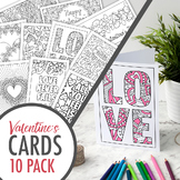 Valentine's Day Coloring Cards – Set of 10 printable greet