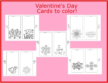 Valentine's Day Coloring Cards Sets 1-5