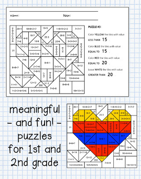 Valentine's Day Coloring Math - 1st and 2nd grade - differentiated