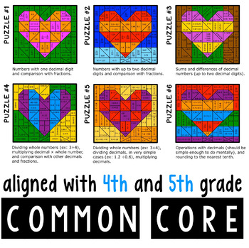 Valentine's Day Coloring Math - Working With Decimals - Differentiated