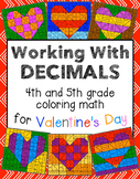 Valentine's Day Coloring Math - Working With Decimals - Di