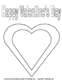 Valentine's Day Coloring Page.  A great simple Valentine's template for coloring