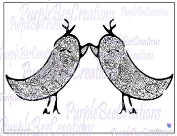 Valentine's Day Coloring Page-Love Birds #1