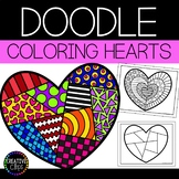 Valentine's Day Coloring Pages: Doodle Shape Hearts {Made by Creative Clips}
