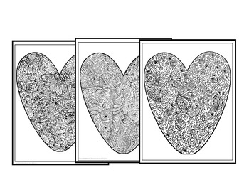 "Valentine's Day Coloring Pages-""Big Hearts"" Set #1"
