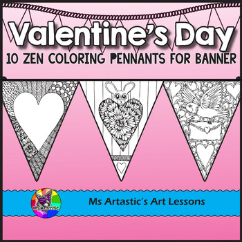 Valentine's Day Coloring Pages, Pennant Banner
