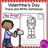 Valentine's Day Coloring Trace and Write Sentences
