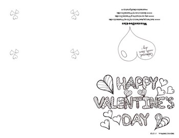 Valentine's Day Colouring Card