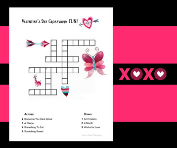 Valentine's Day Combo: Crossword and Word Search