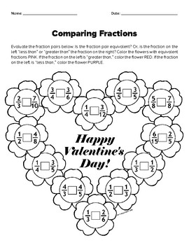 Valentine's Day - Comparing Fraction Pairs
