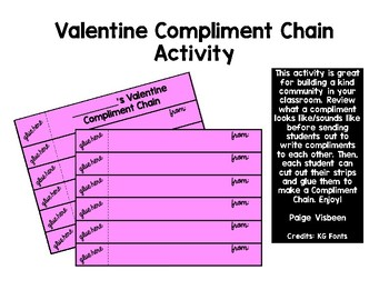 Valentine's Day Compliment Chain Activity