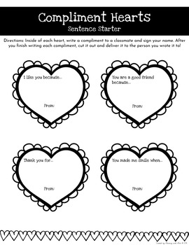 Valentine's Day Compliment Hearts (Kindness Activity)