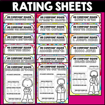 Valentine's Day Composer Rating Sheets, Music, Rainbow, Hearts, Activities