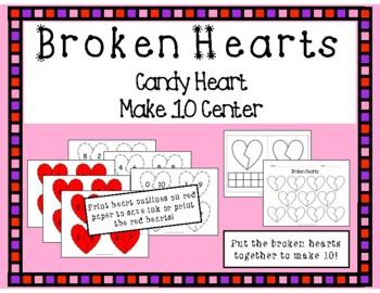 Valentine's Day Composing & Decomposing Math Center- Making 10- Broken Hearts