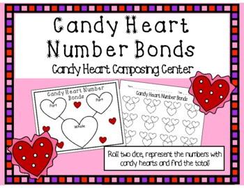 Valentine's Day Composing Kindergarten Math Center- Candy Heart Number Bonds