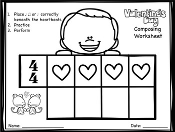 Valentine's Day Composing Worksheets - Half Notes