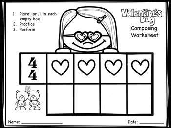 Valentine's Day Composing Worksheets - Quarter and Eighth Notes