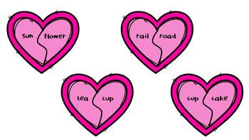 Valentine's Day Compound Words Literacy Activity