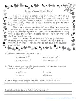 Valentine's Day Comprehension Passage FREEBIE