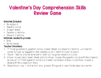 Valentine's Day Comprehension Skills Review Game