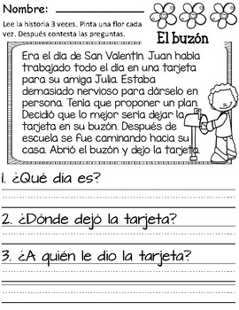 Valentine's Day Comprehension Story- Spanish
