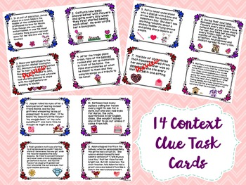 Valentine's Day: Context Clue Task Cards & Leveled Answer Sheets