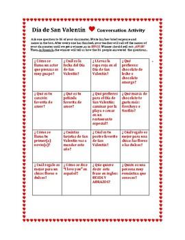 Valentine's Day Conversation BINGO for Spanish students