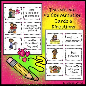 Valentine's Day Conversation Cards & Directions (ESL Class)