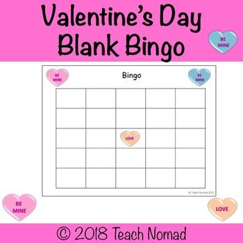 valentine s day conversation heart blank bingo template by teach nomad