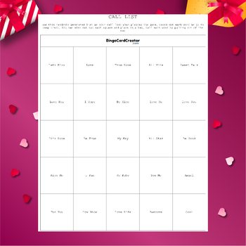 Valentine's Day Conversation Hearts Bingo