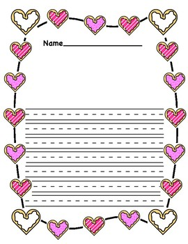 Valentine's Day Cookie Themed Writing Paper
