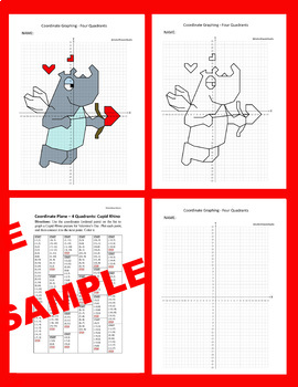 Valentine's Day/Mother's Day Coordinate Graphing Picture: Cupid Rhino