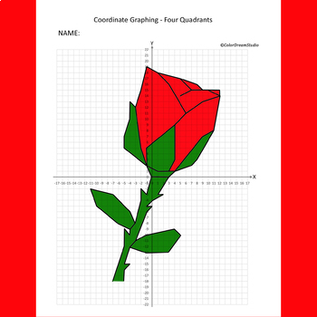 Valentine's Day/Mother's Day Coordinate Graphing Picture: Rose