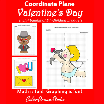 Valentine's Day Coordinate Graphing Picture:Valentine's Day Bundlle 3 in 1