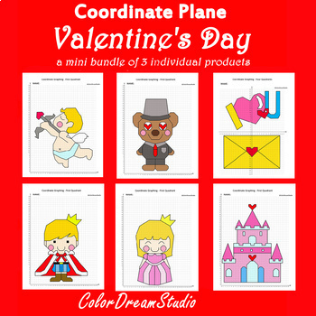 Valentine's Day Coordinate Graphing Picture:Valentine's Day Bundlle 6 in 1