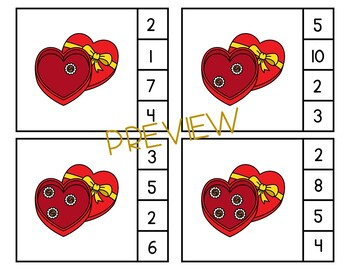 Valentine's Day Count & Clip Cards for Preschool