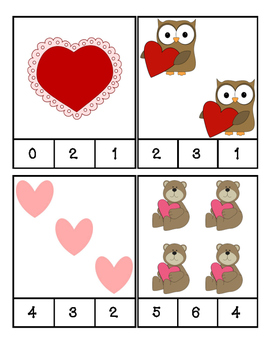 Valentine's Day - Math - Count and Clip Cards #1-24