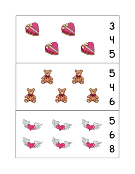 Valentine's Day Count and Clip Cards - Set of 15