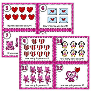 Valentine's Day Math- Count the Room 1-10 Task Cards