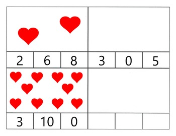 Valentine's Day Count to Ten Clip Cards