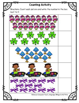 Spring Counting 1-20 Math Worksheets