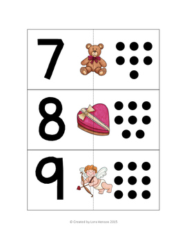 Valentine's Day Counting Cards - Set of 10
