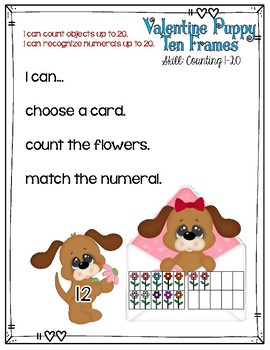 Valentine's Day Counting Center 1-20 Ten Frames File Folder Game Math Center