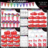 Valentine's Day Counting Clip Art & B&W Bundle 1 (4 Sets)