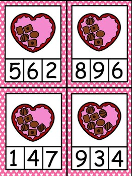 Valentine's Day Counting Clip Cards (1 - 10) - 4 Sets!