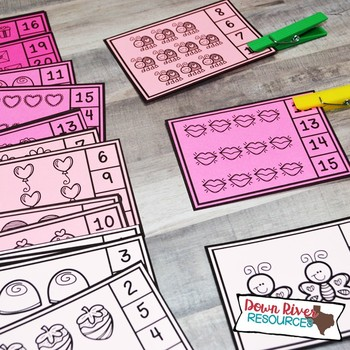Valentine's Day Counting Clip Cards 1-20 | Kindergarten Math | English & Spanish