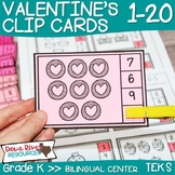 Valentine's Day Math Counting Clip Cards 1-20   English & Spanish